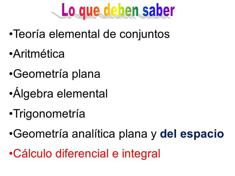 Lo que deben saber Teoría elemental de conjuntos. Aritmética. Geometría plana. Álgebra elemental.