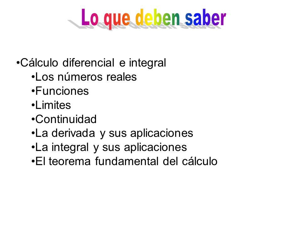 Lo que deben saber Cálculo diferencial e integral Los números reales