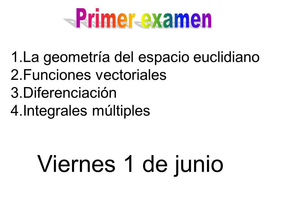 Viernes 1 de junio La geometría del espacio euclidiano