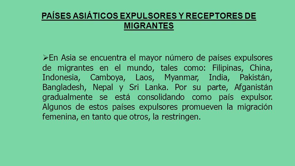 PAÍSES ASIÁTICOS EXPULSORES Y RECEPTORES DE MIGRANTES