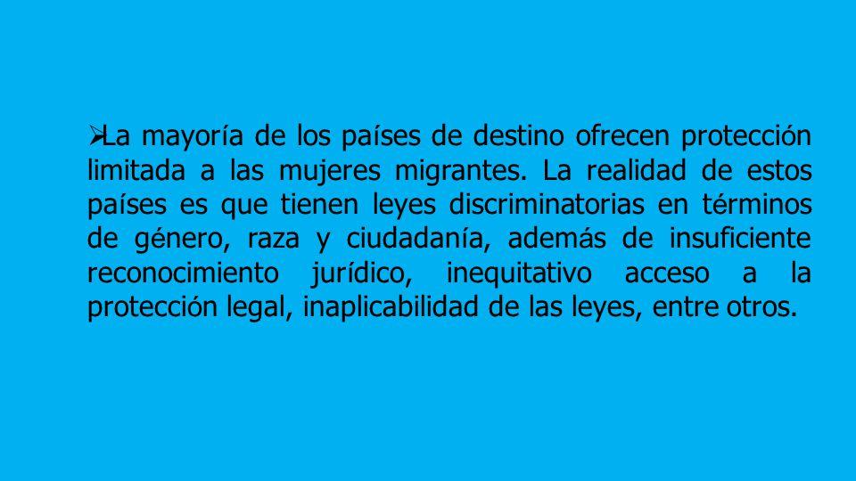 La mayoría de los países de destino ofrecen protección limitada a las mujeres migrantes.