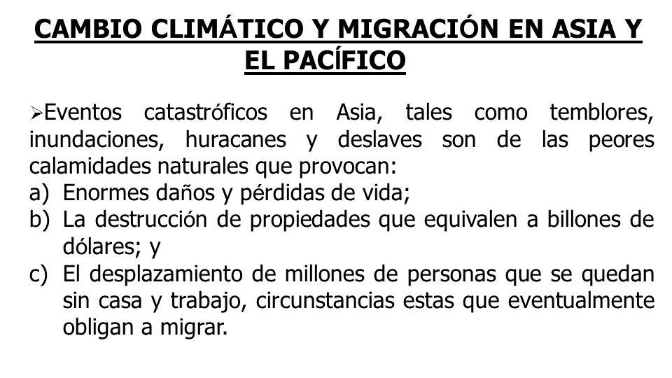 CAMBIO CLIMÁTICO Y MIGRACIÓN EN ASIA Y EL PACÍFICO