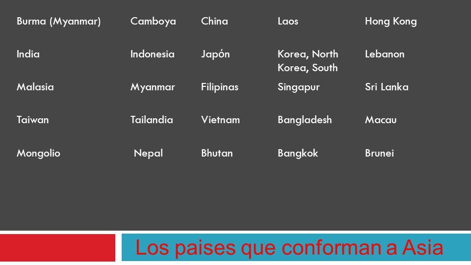 Los paises que conforman a Asia