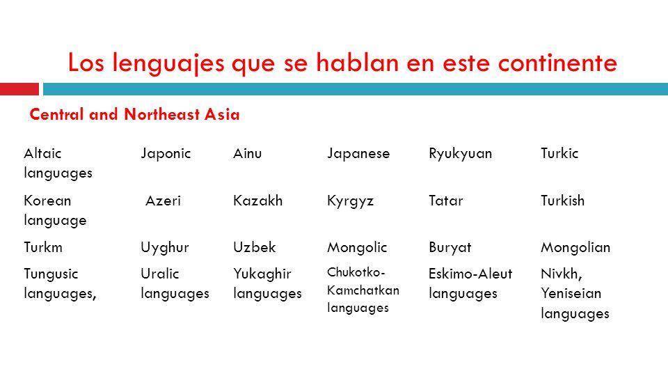 Los lenguajes que se hablan en este continente