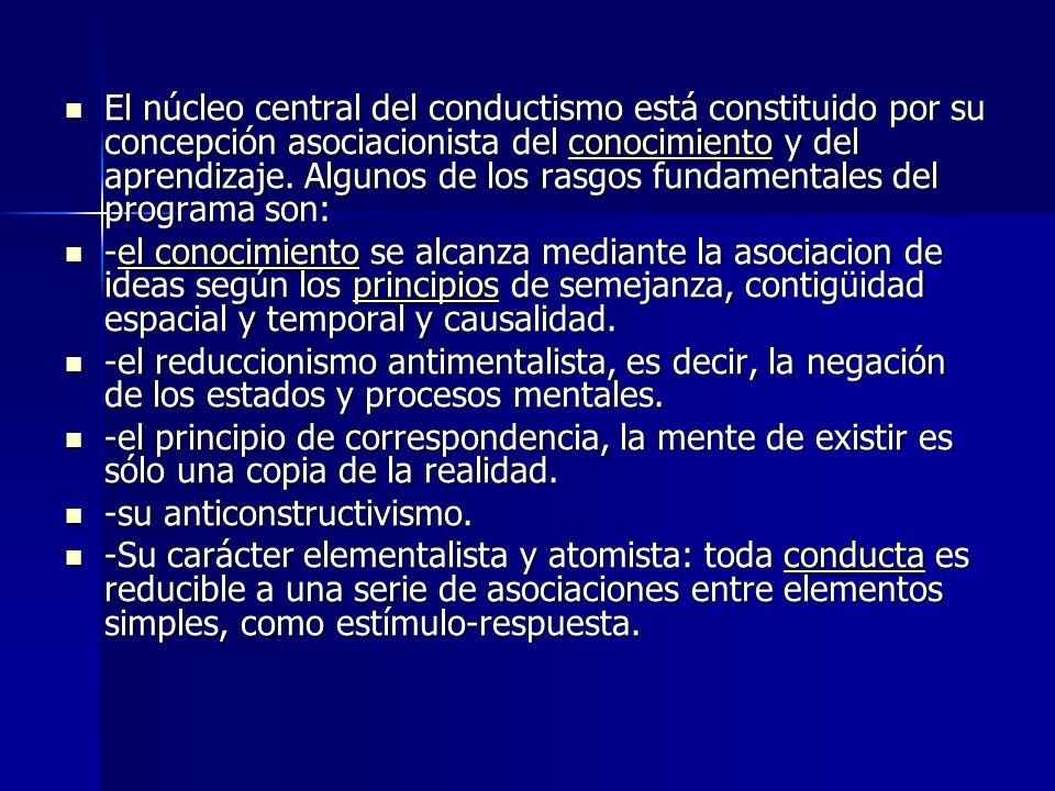 El núcleo central del conductismo está constituido por su concepción asociacionista del conocimiento y del aprendizaje. Algunos de los rasgos fundamentales del programa son:
