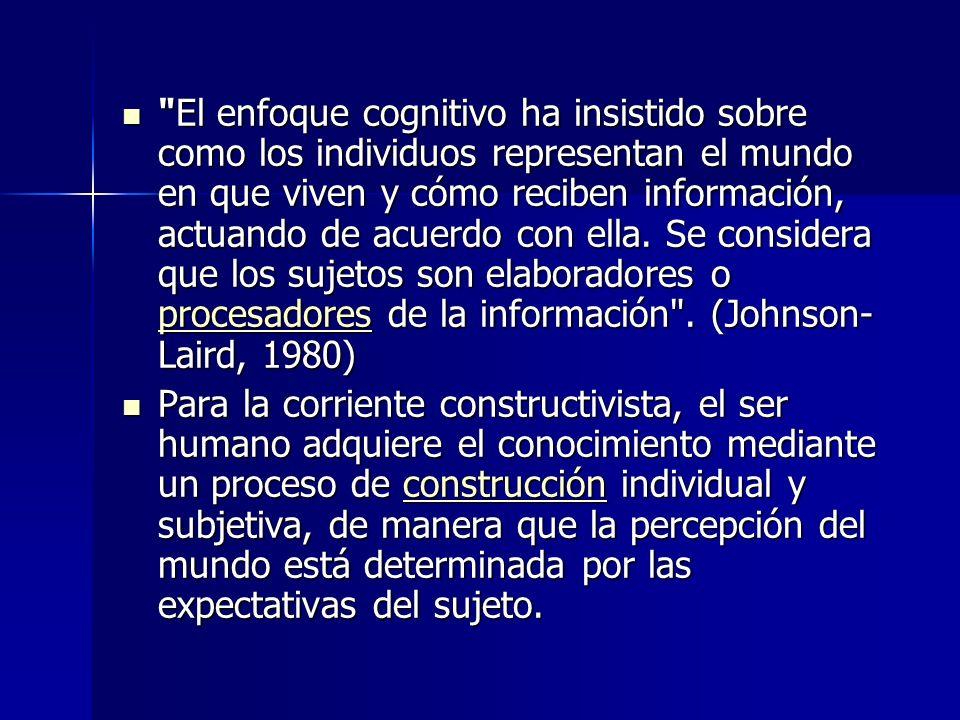 El enfoque cognitivo ha insistido sobre como los individuos representan el mundo en que viven y cómo reciben información, actuando de acuerdo con ella. Se considera que los sujetos son elaboradores o procesadores de la información . (Johnson-Laird, 1980)