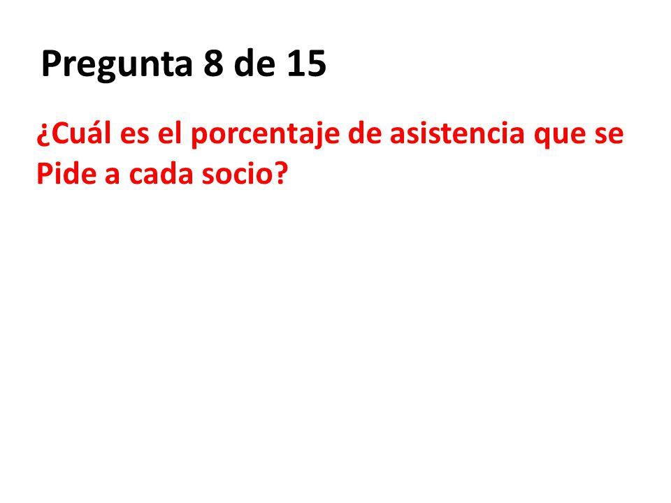 Pregunta 8 de 15 ¿Cuál es el porcentaje de asistencia que se