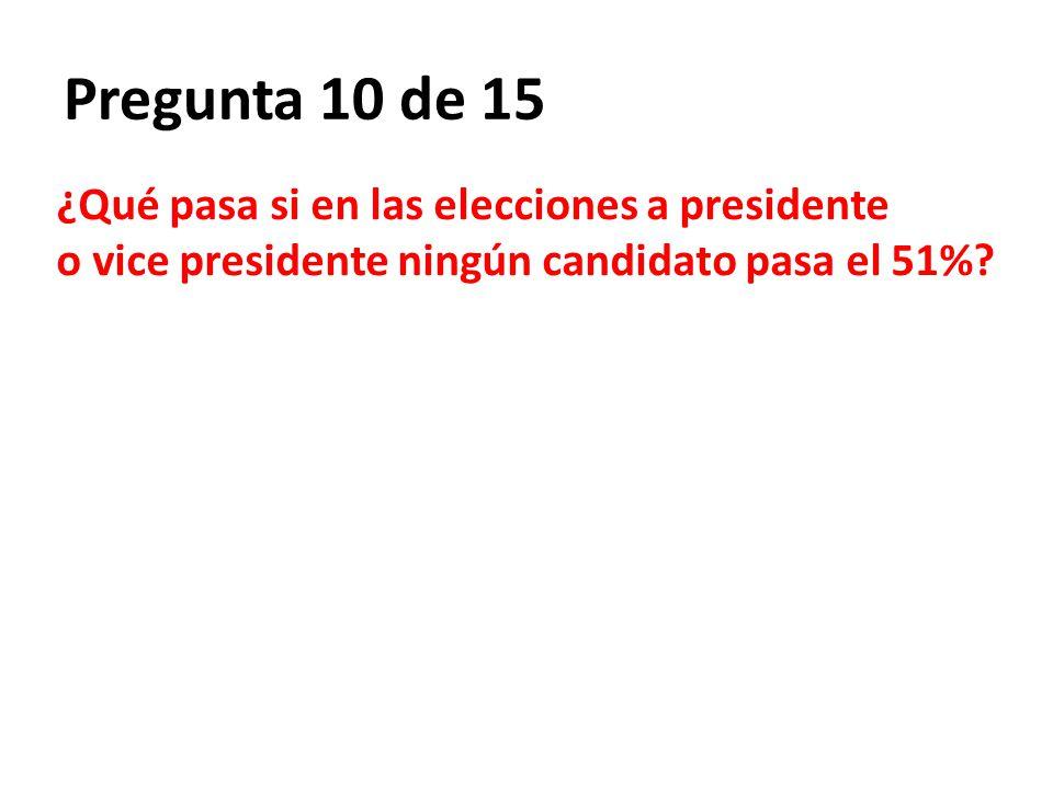 Pregunta 10 de 15 ¿Qué pasa si en las elecciones a presidente