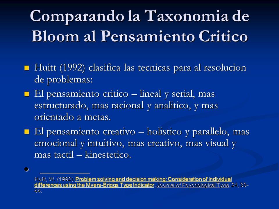 Comparando la Taxonomia de Bloom al Pensamiento Critico