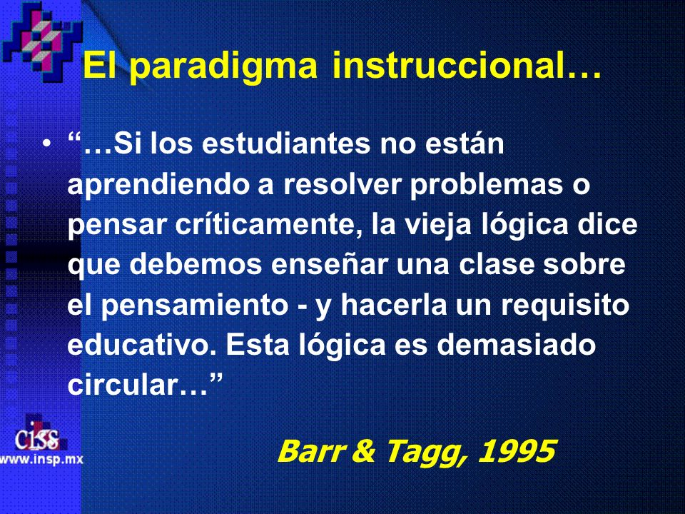 El paradigma instruccional…