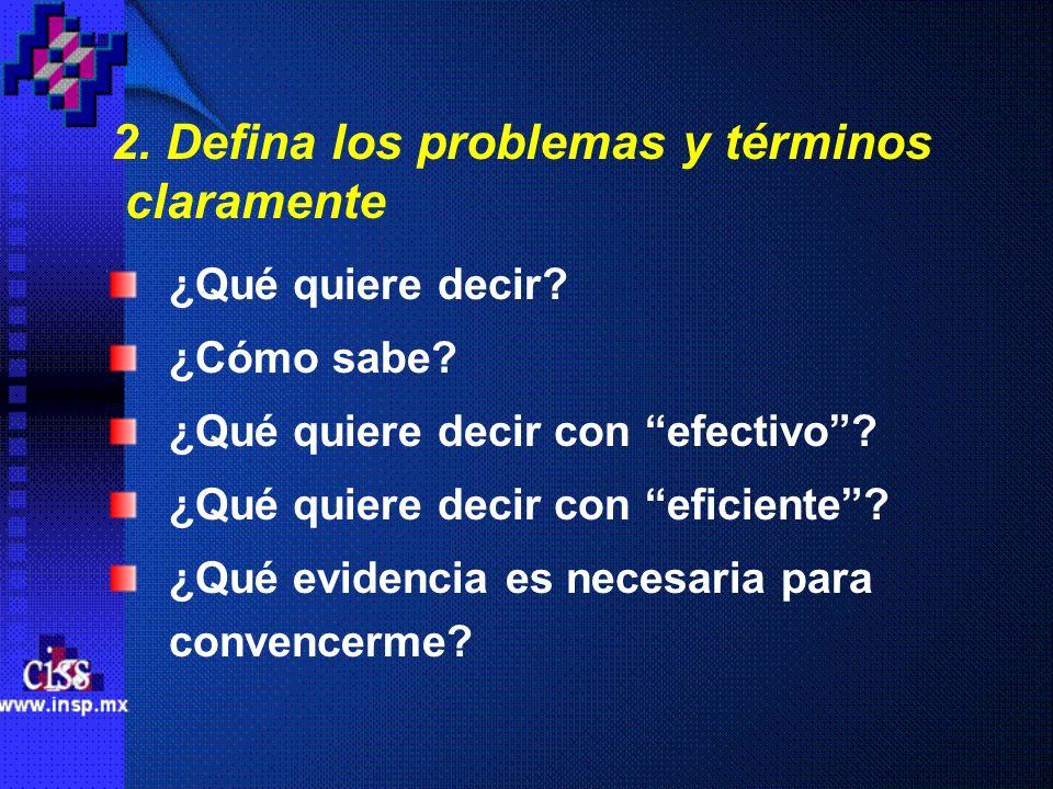 2. Defina los problemas y términos claramente