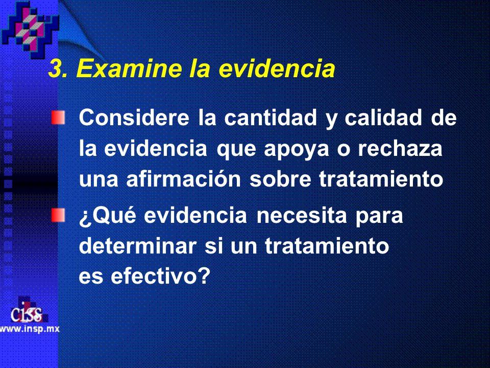 3. Examine la evidencia Considere la cantidad y calidad de la evidencia que apoya o rechaza una afirmación sobre tratamiento.