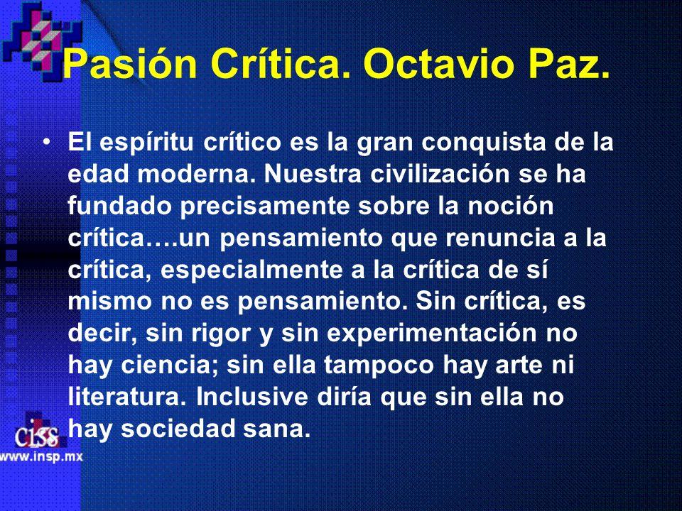 Pasión Crítica. Octavio Paz.