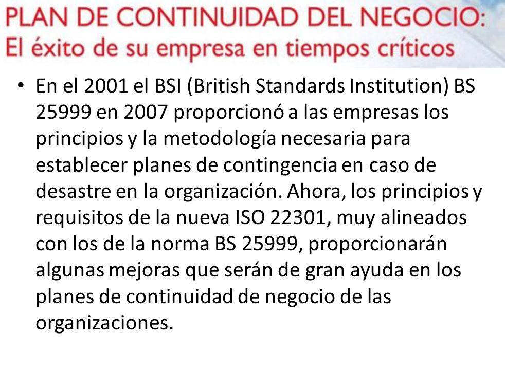En el 2001 el BSI (British Standards Institution) BS 25999 en 2007 proporcionó a las empresas los principios y la metodología necesaria para establecer planes de contingencia en caso de desastre en la organización.