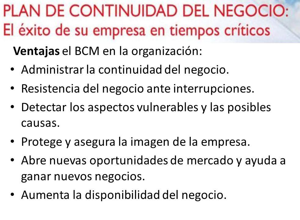 Ventajas el BCM en la organización: