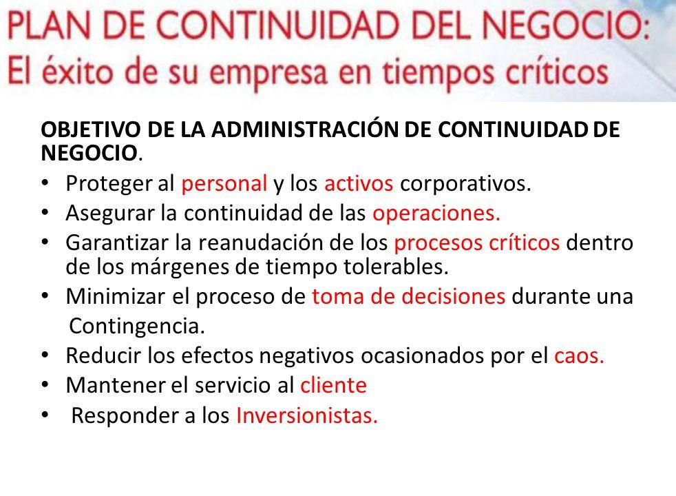 OBJETIVO DE LA ADMINISTRACIÓN DE CONTINUIDAD DE NEGOCIO.