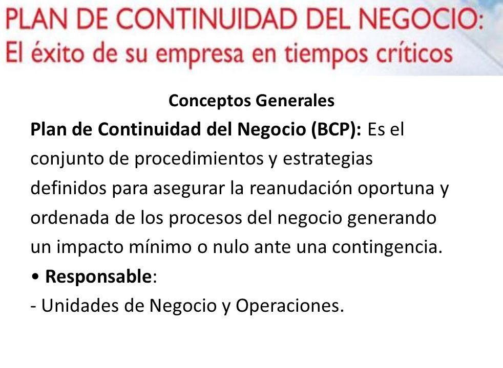 Plan de Continuidad del Negocio (BCP): Es el