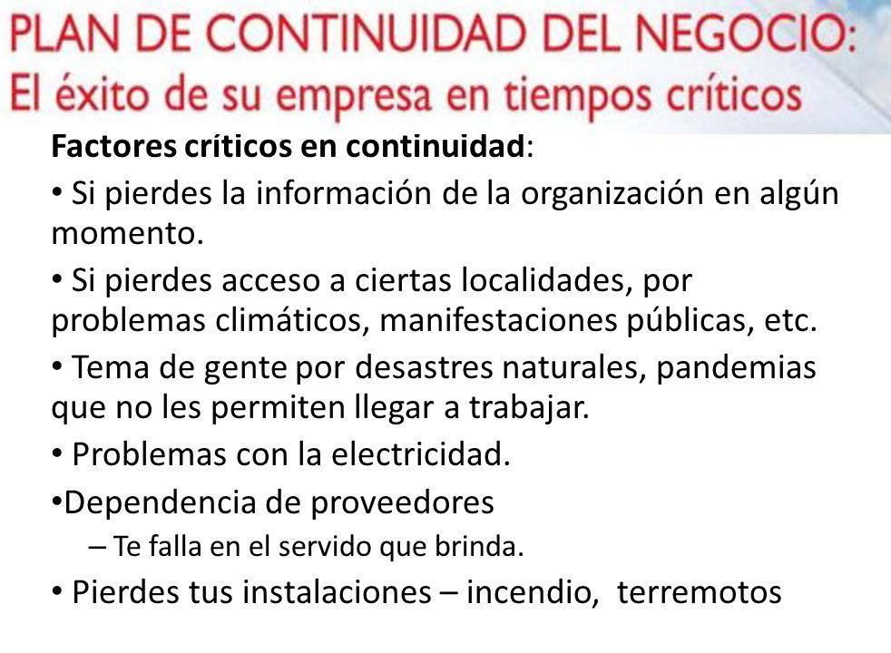 Factores críticos en continuidad: