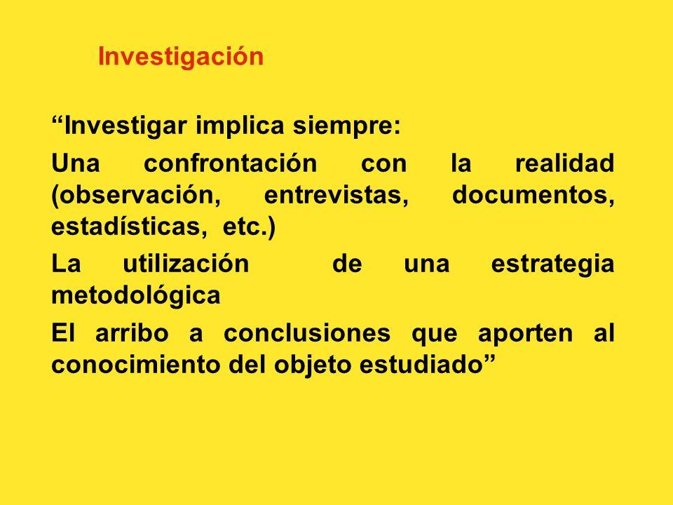 Investigación Investigar implica siempre: Una confrontación con la realidad (observación, entrevistas, documentos, estadísticas, etc.)