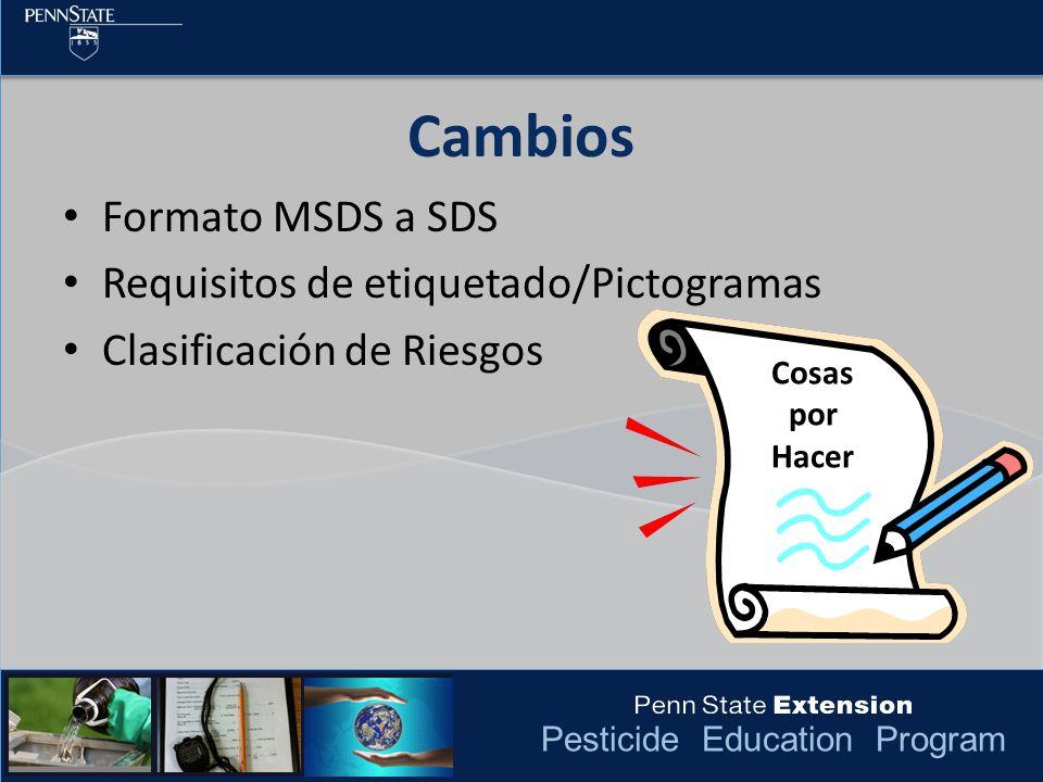 Cambios Formato MSDS a SDS Requisitos de etiquetado/Pictogramas