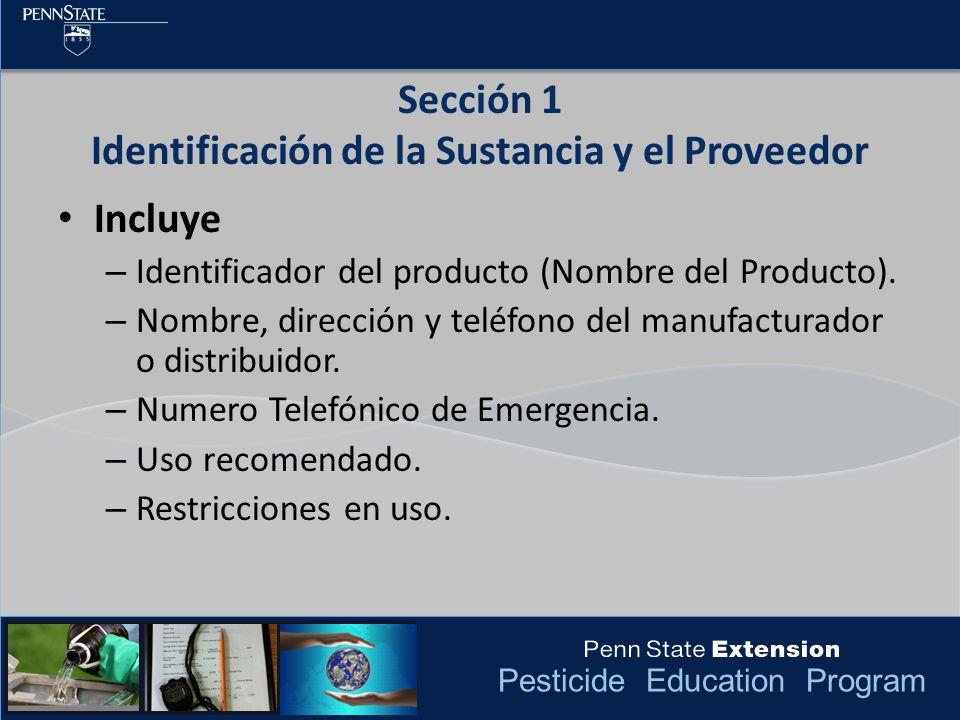 Sección 1 Identificación de la Sustancia y el Proveedor