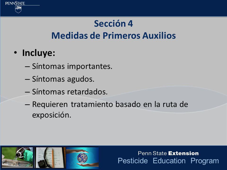 Sección 4 Medidas de Primeros Auxilios