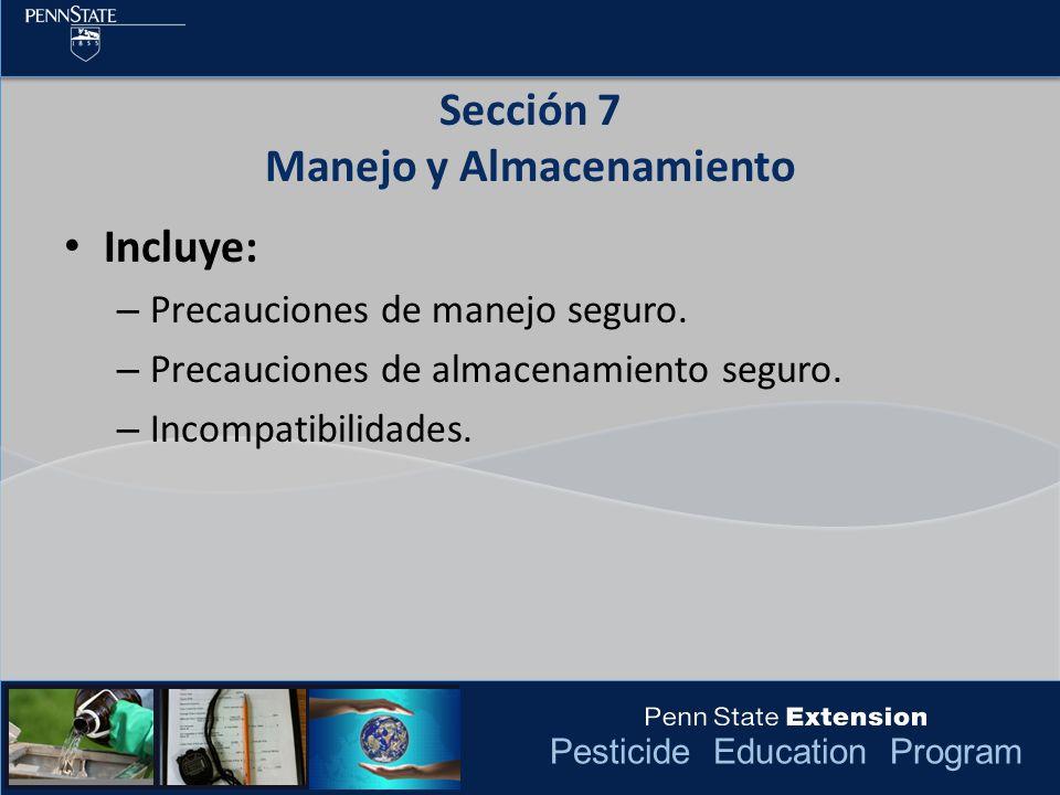 Sección 7 Manejo y Almacenamiento