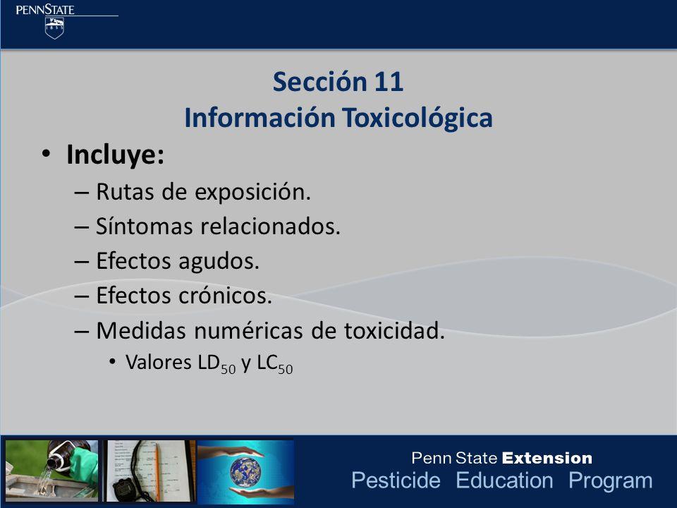 Sección 11 Información Toxicológica