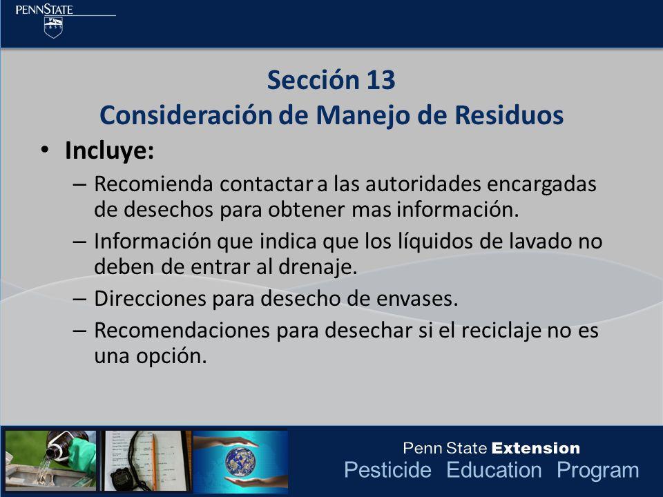 Sección 13 Consideración de Manejo de Residuos