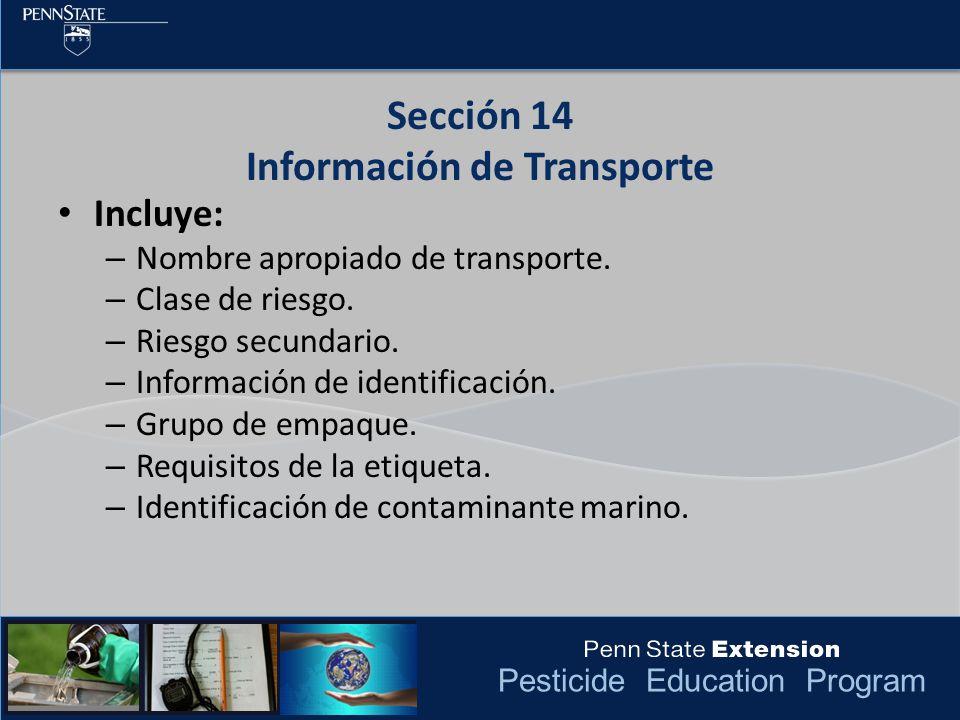 Sección 14 Información de Transporte