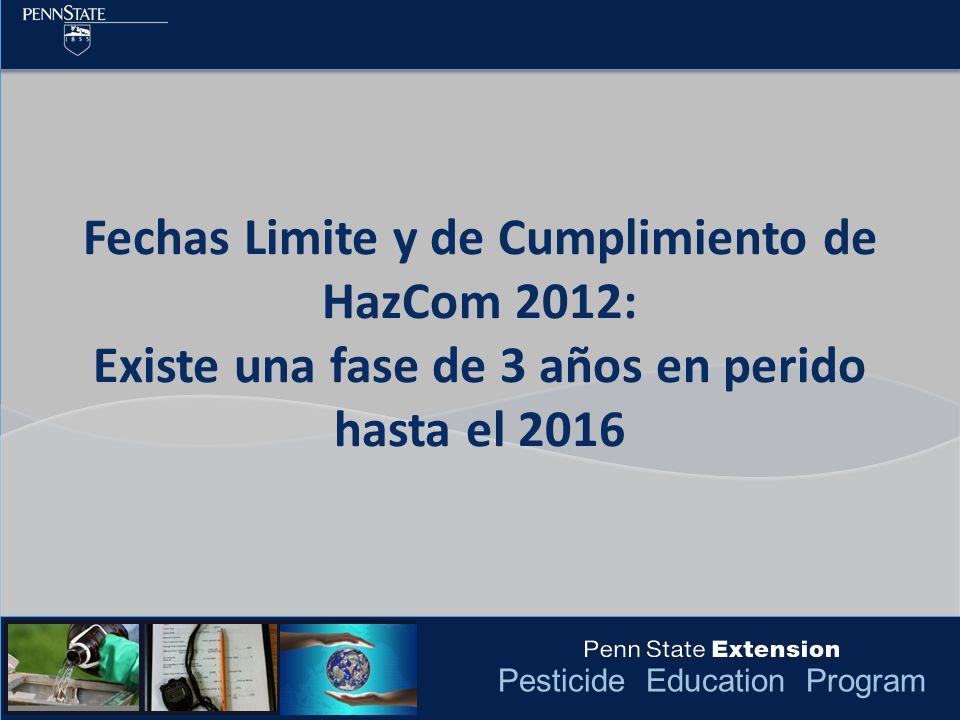 Fechas Limite y de Cumplimiento de HazCom 2012: Existe una fase de 3 años en perido hasta el 2016