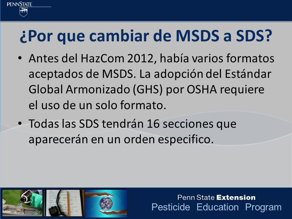¿Por que cambiar de MSDS a SDS