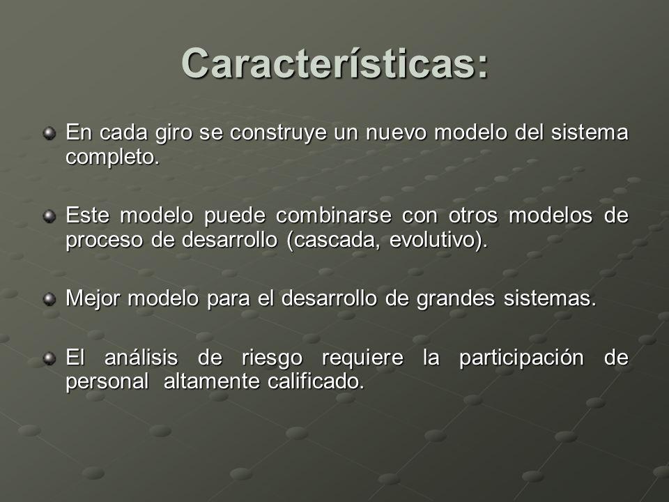 Características: En cada giro se construye un nuevo modelo del sistema completo.