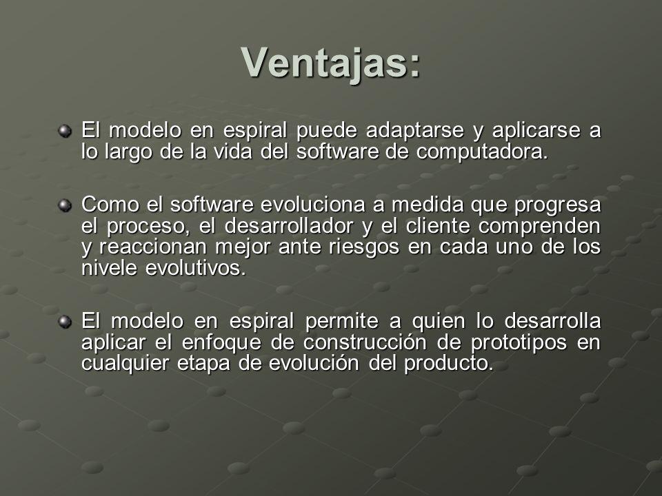 Ventajas: El modelo en espiral puede adaptarse y aplicarse a lo largo de la vida del software de computadora.