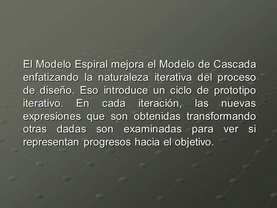El Modelo Espiral mejora el Modelo de Cascada enfatizando la naturaleza iterativa del proceso de diseño.