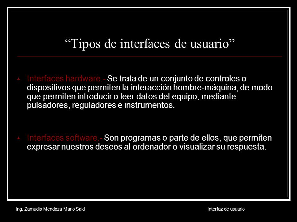 Tipos de interfaces de usuario