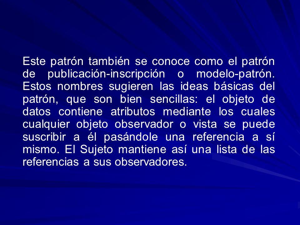 Este patrón también se conoce como el patrón de publicación-inscripción o modelo-patrón.