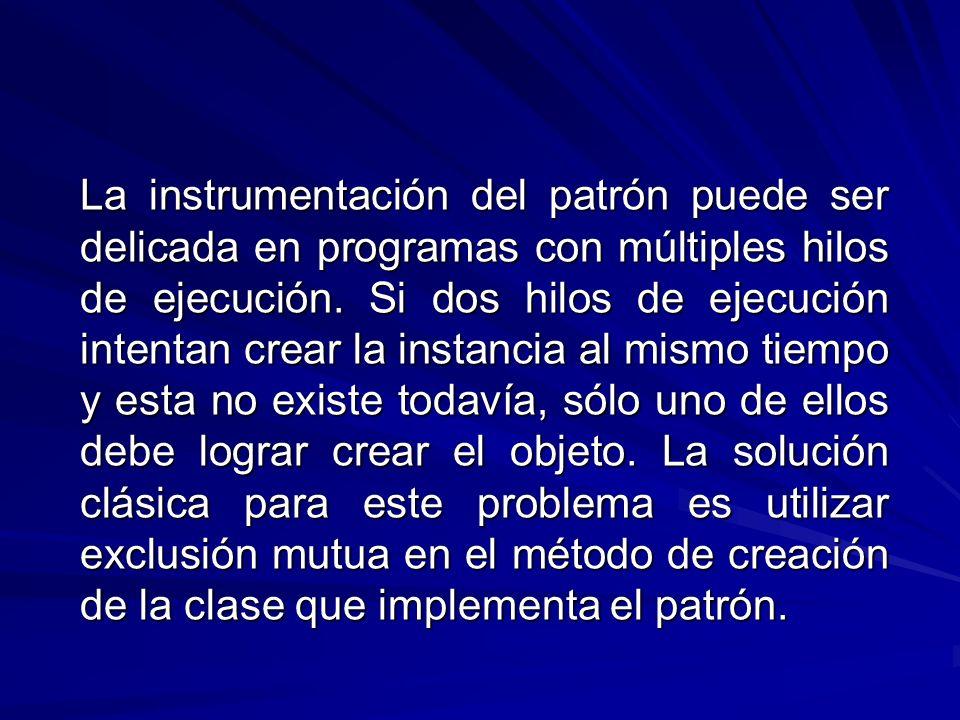 La instrumentación del patrón puede ser delicada en programas con múltiples hilos de ejecución.