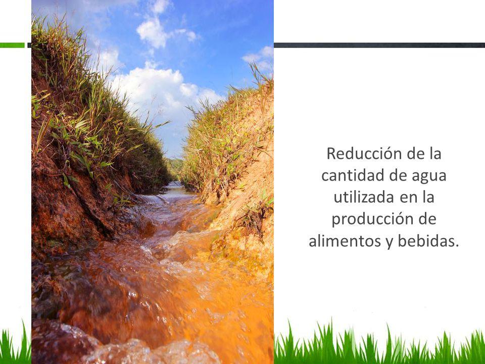Reducción de la cantidad de agua utilizada en la producción de alimentos y bebidas.