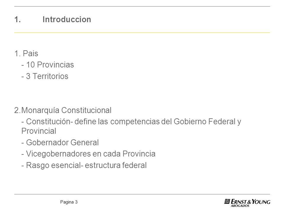 1. Introduccion 1. Pais. - 10 Provincias. - 3 Territorios. 2. Monarquía Constitucional.