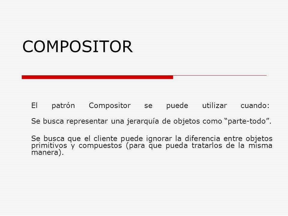 COMPOSITOR El patrón Compositor se puede utilizar cuando: