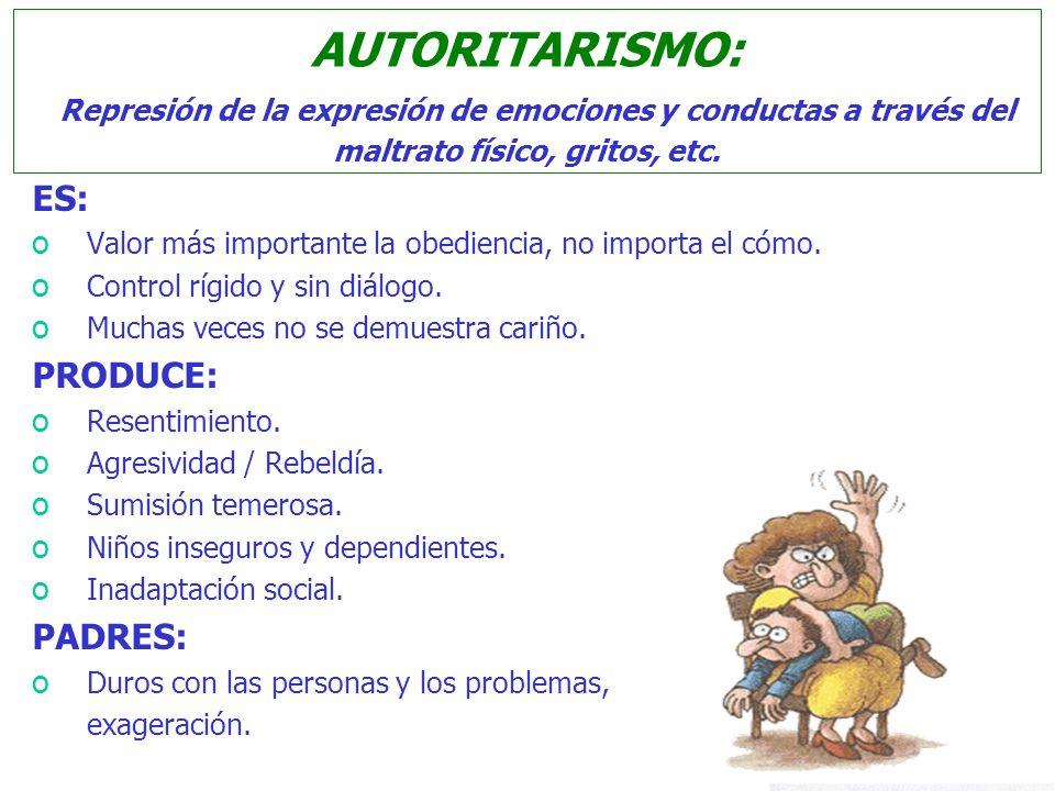 AUTORITARISMO: Represión de la expresión de emociones y conductas a través del maltrato físico, gritos, etc.