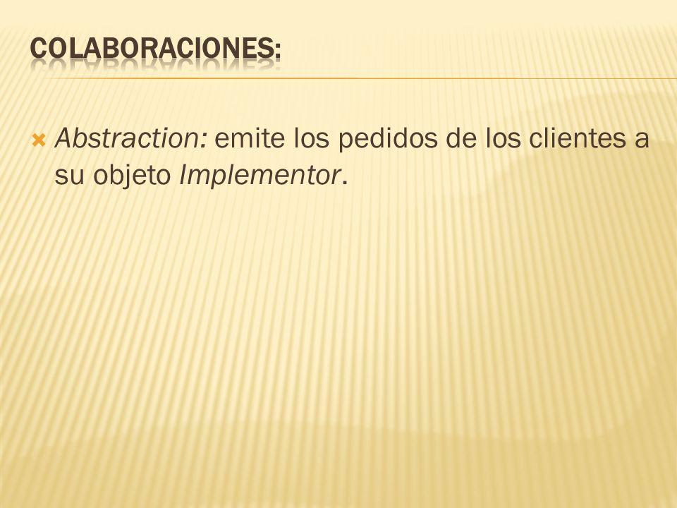Colaboraciones: Abstraction: emite los pedidos de los clientes a su objeto Implementor.