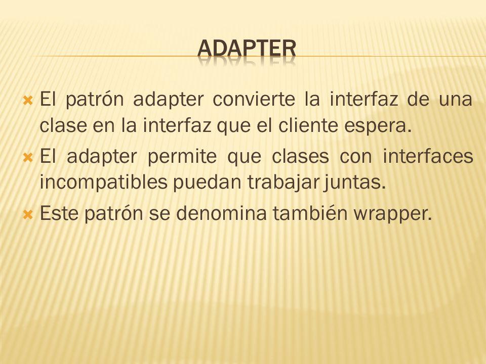 AdapterEl patrón adapter convierte la interfaz de una clase en la interfaz que el cliente espera.