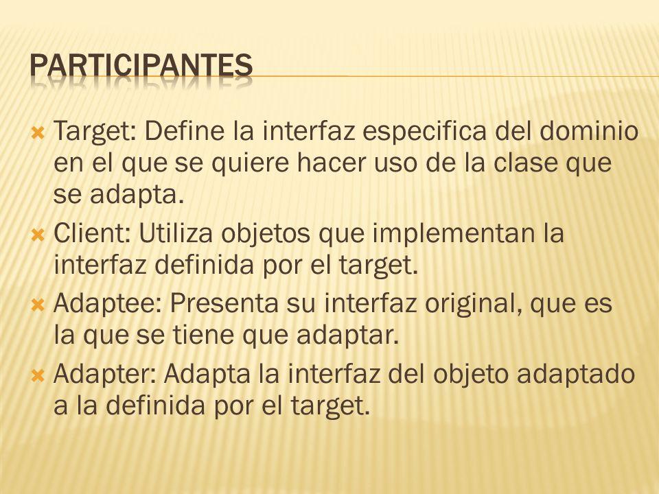 Participantes Target: Define la interfaz especifica del dominio en el que se quiere hacer uso de la clase que se adapta.