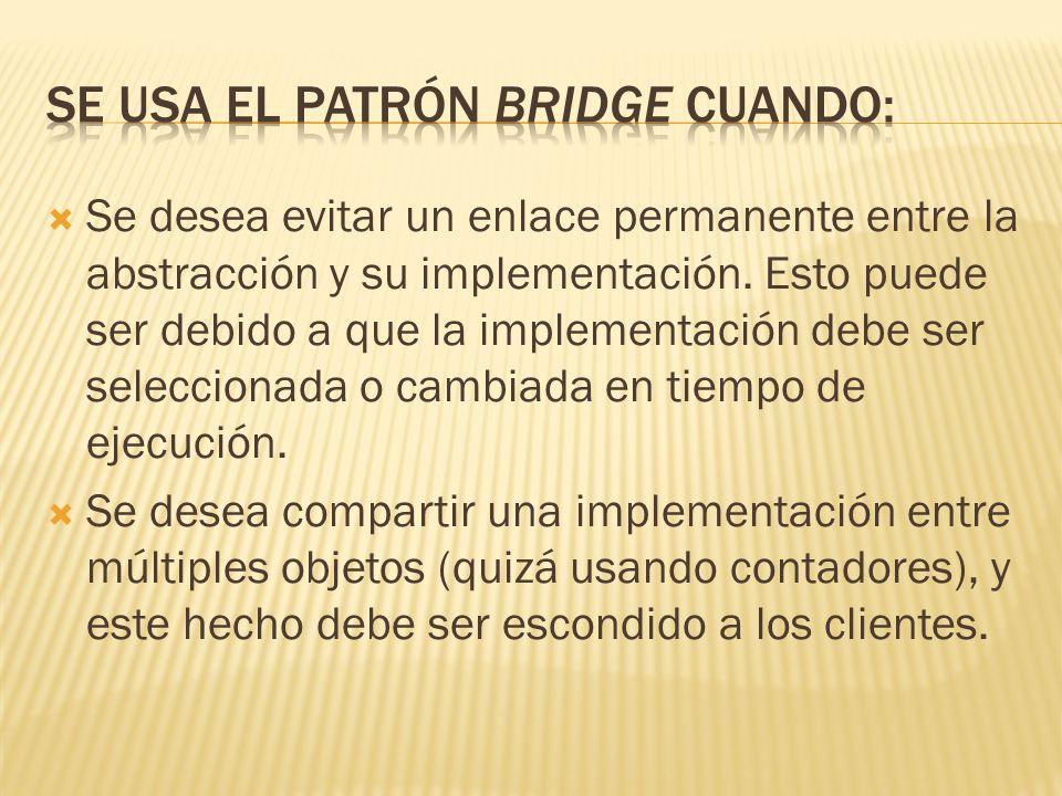 Se usa el patrón Bridge cuando: