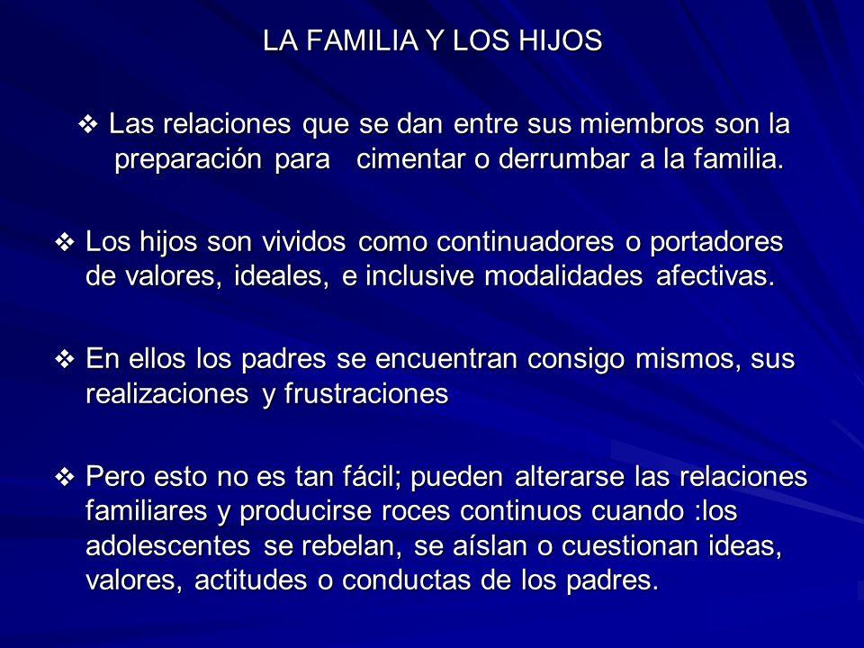 LA FAMILIA Y LOS HIJOSLas relaciones que se dan entre sus miembros son la preparación para cimentar o derrumbar a la familia.