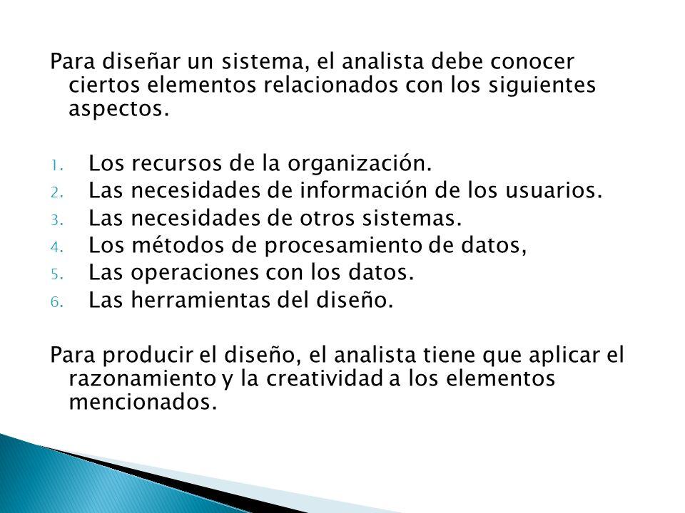 Para diseñar un sistema, el analista debe conocer ciertos elementos relacionados con los siguientes aspectos.