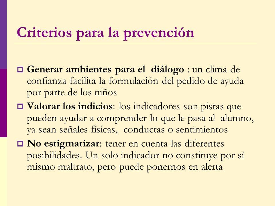 Criterios para la prevención