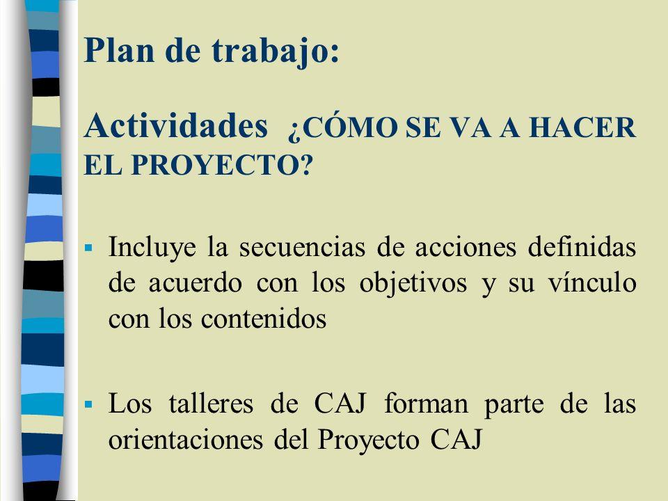 Plan de trabajo: Actividades ¿CÓMO SE VA A HACER EL PROYECTO